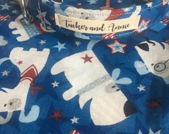 Custom Handmade Dog Collar and Matching Bandana in 'Patriotic Dog'