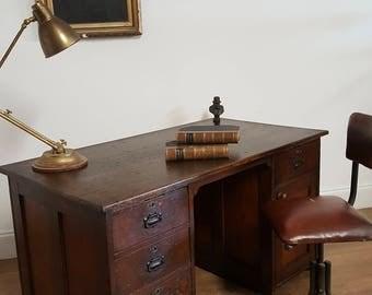 rustic vintage early 20th century industrial desk