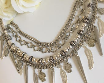 Chunky multi chain boho statement necklace