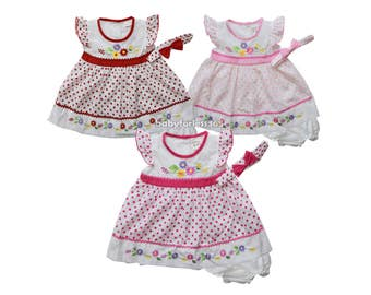 Baby Girl Dress with Matching Headband Size 3 6 9 months