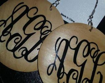 Monogrammed wooden earrings