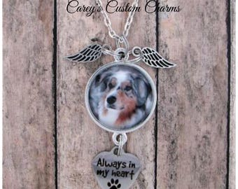 Pet Memorial Photo Charm Necklace, Paw Print, Personalized, Custom Made Photo Charm, Dog, Cat, Pet Lover, Always In My Heart