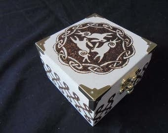 Trilogy celtic hare Pyrography box