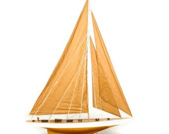 Large Handmade Custom Wooden Sailboat