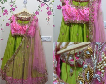 Classic green lehanga with pink blouse and dupatta