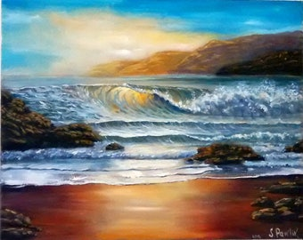 Porthcew Beach , stunning oil painting, a piece of beauty.