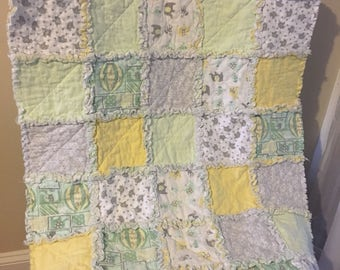 Baby rag quilt, neutral baby blanket, elephant baby quilt, rag quilt, green and yellow quilt, baby blanket