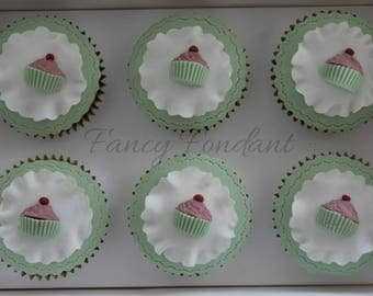 12 Edible Fondant Cupcake Decorations Toppers