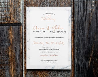 Marble rose gold, wedding invitation, rose gold invitation, modern wedding, marble wedding, marble invite, marble rosegold, calligraphy