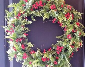Spring Wreath, FernWreath, Year round Wreaths, Red Flower Wreath, Front Door Wreath, LilyPadFlorals Wreaths, Home Decor