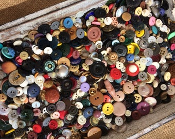 Huge Lot Vintage Buttons. 1 lb. Antique Collectible Button. Sewing. Crafting.
