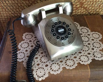 Vintage Style Rotary Telephone Silver Pushbutton Retro Phone