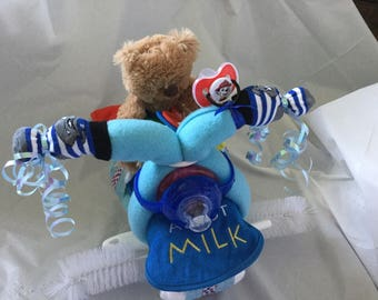 Baby Diaper Bicycle Bike Blue Red Shower Gift Decor Decoration