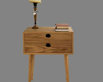 Bedside table Walnut/oak solid 2 c Mind Century