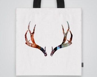 Deer Antlers Bag Shoulder Bag Market Bag Art Print