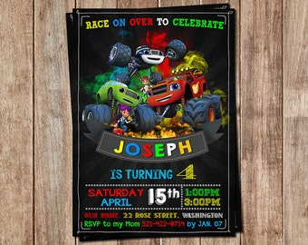 Blaze and the Monster Machines Invitation - Blaze and the Monster Machines Birthday Invitation- Monster Truck Invite - Blaze Party Invite