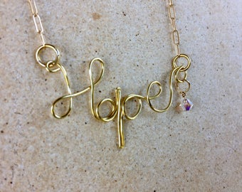 Gold Hope Wire Word Name Necklace