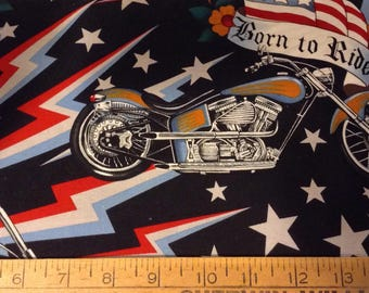 Motorcycle cotton fabric by the yard