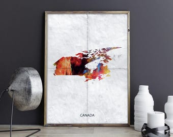 Canada Art Canada Wall Art Canada Wall Decor Canada Photo Canada Print Canada Poster Canada Map Country Map Watercolor Map Country Map Print