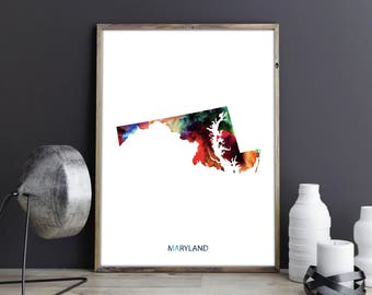 Maryland Art Maryland Wall Art Maryland Decor Maryland Photo Maryland Print Maryland Poster Maryland State Map United States Map Watercolor