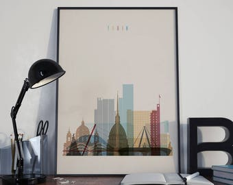 Turin Art Turin Watercolor Turin Multicolor Turin Wall Art Turin Print Turin Poster Turin Wall Decor Turin Home Decor Turin Photo Torino