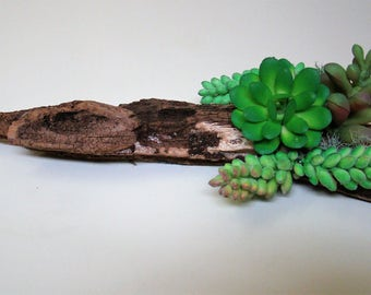 Small wood log with artificial succulent arrangement // home decor // cactus arrangement on wood // birthday gift // new home gift