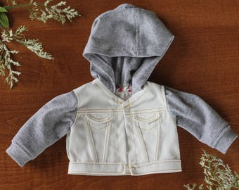 American Girl Doll Denim Sweatshirt Jacket- White Denim with Grey
