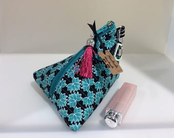 Small Make Up Bag, Small Cosmetic Bag, Triangle Coin Purse, Coin Purse, Zipper Pouch with Attachment Clip, Gift for Her, Black and Teal.