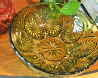 Vintage Green Cut Glass Bowl, Anchor Hocking Serving Dish