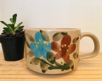 Vintage Handpainted Floral Soup Mug, Speckled Stoneware Coffee Cup, Made in Korea