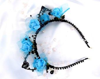 Cat Ears HeadbandBlue Cat EarsHalloween- Blue RosesRoses HeadbandHandmade Cat EarsBlue Floral Cat Headband