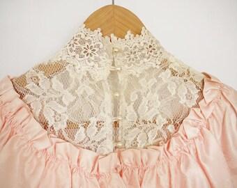 Vintage Gunn Sax by Jessica McClintock pink ruffle floral lace prom dress jurk