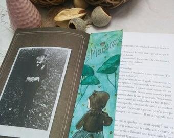"Handmade bookmarks handmade ""Kitten"" Collection ""Clémentine"" Bookmark Art drawing print"