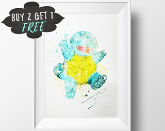 Pokemon Squirtle Art Print Poster Pokemon Wall Art Nursery Decor Printable Watercolor Instant Download