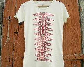Organic cotton handprinted pattern tshirt woman