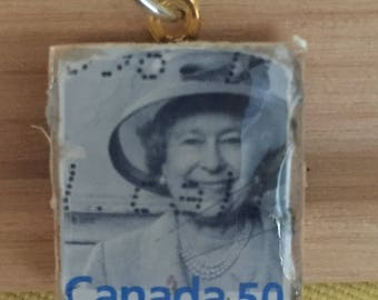 Queen Elizabeth Postage Stamp Pendant