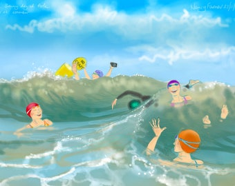 Art print - 'A Bouncy Day at Poole' - open water swimming, sea swimming, wild swimming, A4 or A3 size. Art by Nancy Farmer
