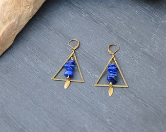 With triangles and lapis lazuli earrings