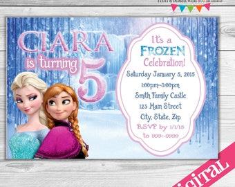 DIGITAL Elsa and Anna Frozen party invitation,