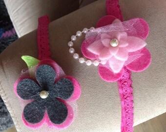 baby felt headband,bay headband,flower headband,flower headband set,pink headband