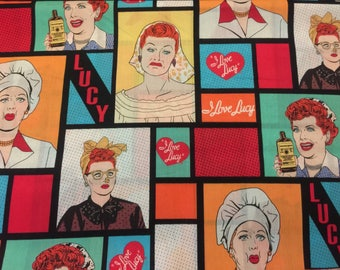 I love lucy Lucille ball fabric material sewing new by the yard new