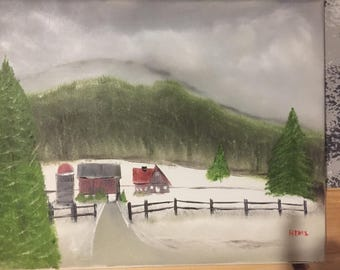 Original oil painting - Winter Farm