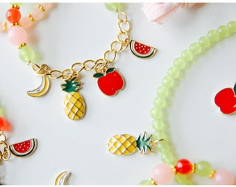 6 Fruits pendants for handmade jewelry (2 set)