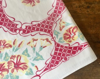 Vintage 1950's floral tablecloth