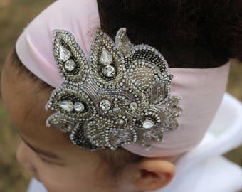 Rhinestone applique headband in pink