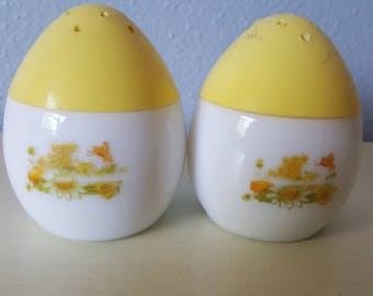 Vintage Avon Milk Glass yellow Salt and Pepper Shakers