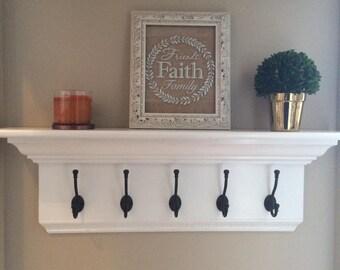 Wood Coat Rack Shelf | Handmade | Crown Molding | Wall Shelf