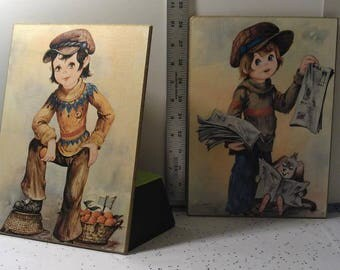 Set of Vintage Pictures - boy's selling wares