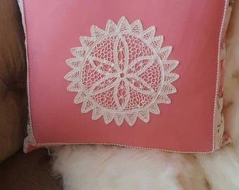 Vintage 1930 barkcloth throw pillow cover with vintage dollie