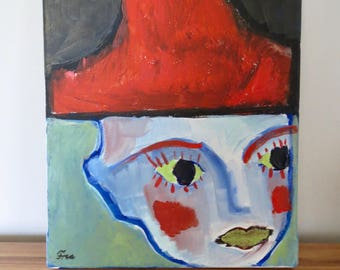 Acrylic painting, 'Face', acrylic on canvas, home decor, wall decor, wall art, original painting, small painting, interesting face, red